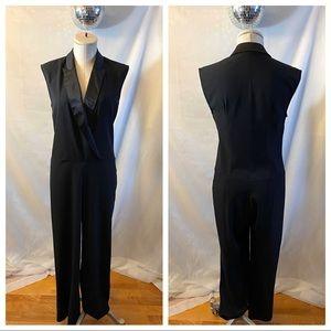 Betsey Johnson Sleeveless Tuxedo Jumpsuit Evening